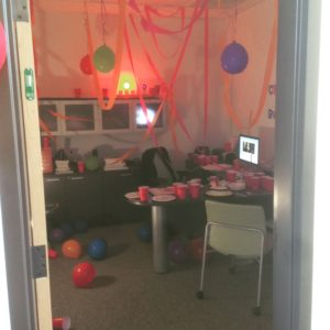 office decorated for party